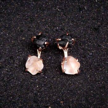 Double_stone_rose_gold_earrings_black_onyx_rose_quartz