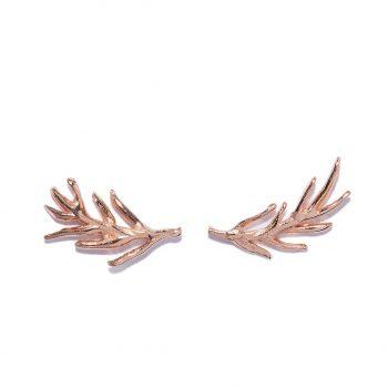 Rose Gold Earrings, palm Leaf, Handmade jewelry
