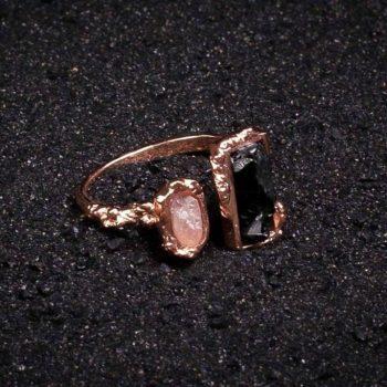 Snowflake rose gold ring Black Onyx and Rose Quartz