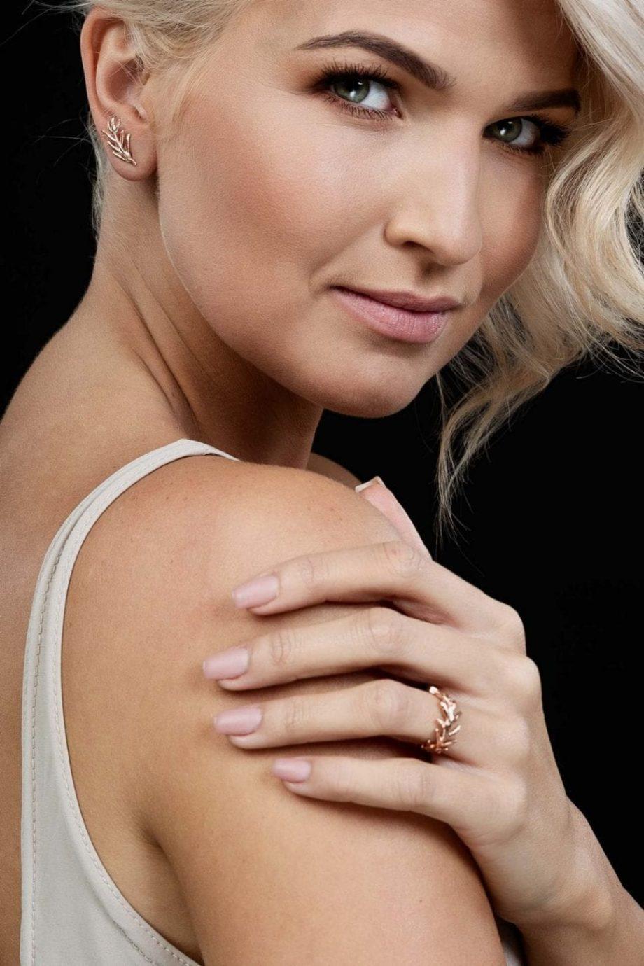 Rose Gold, Earrings, Ring, Handmade jewelry