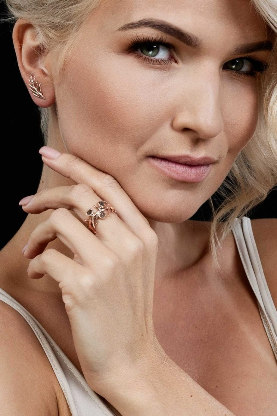 Rose Gold, Earrings, Ring, Handemade jewelry