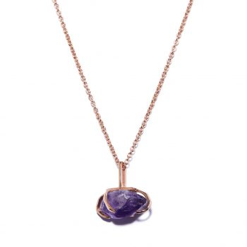 Big Stone Rose Gold Necklace in Ametyst