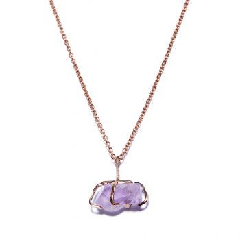 Big Stone Rose Gold Necklace in Amethyst