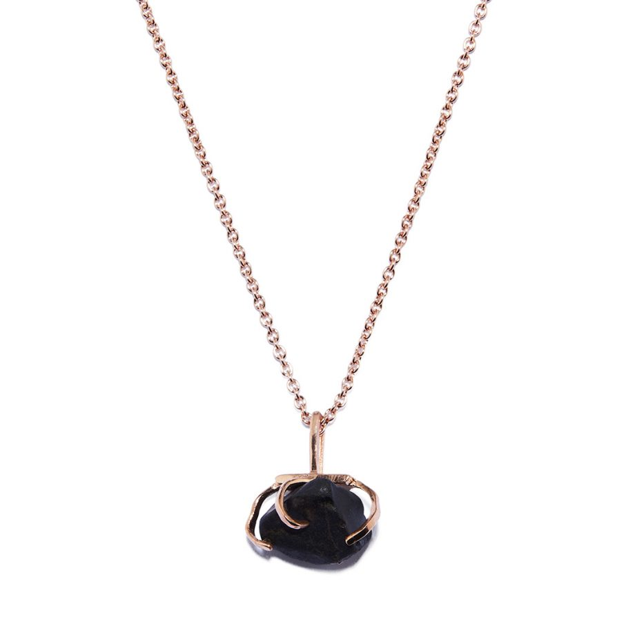 Big Stone Rose Gold Necklace in Black Onyx