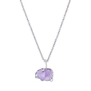 Big Stone White Rhodium Necklace in Amethyst