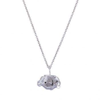 Big Stone White Rhodium Necklace in Herkimer Diamond