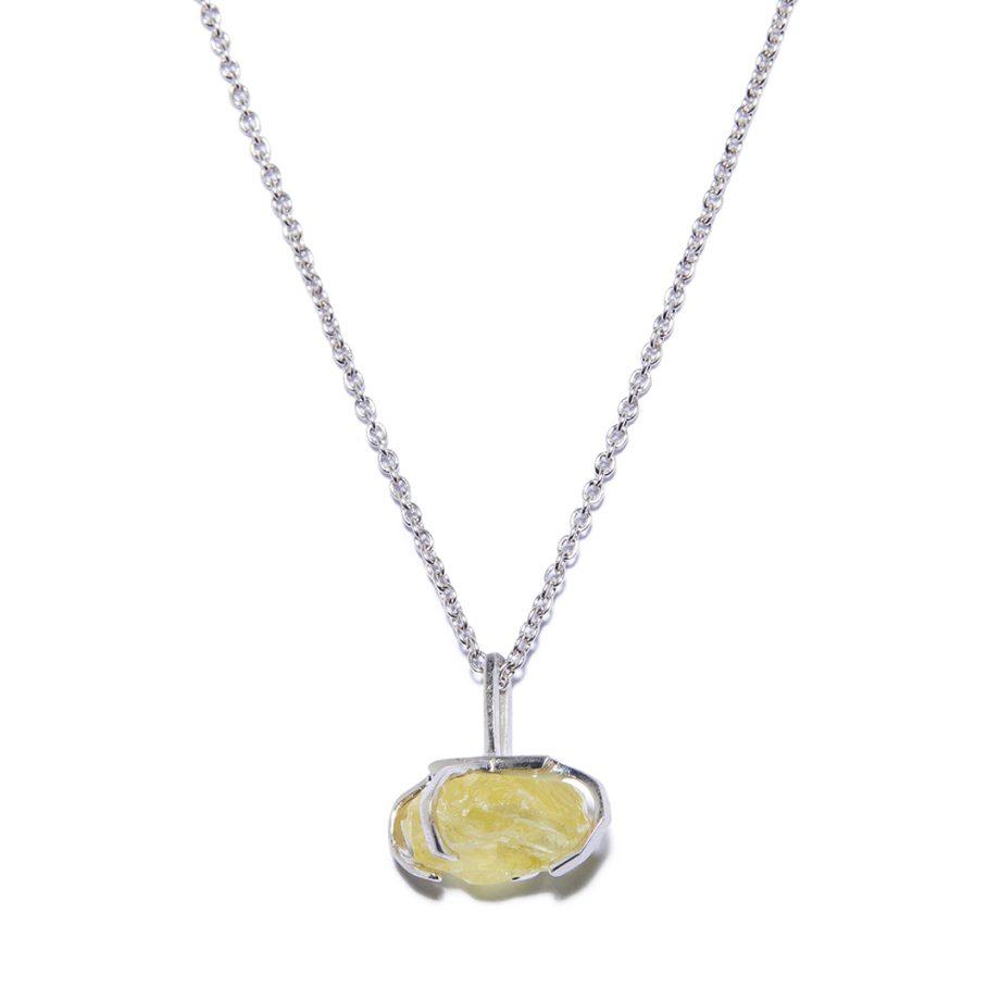 Big Stone White Rhodium Necklace in Yellow Quartz