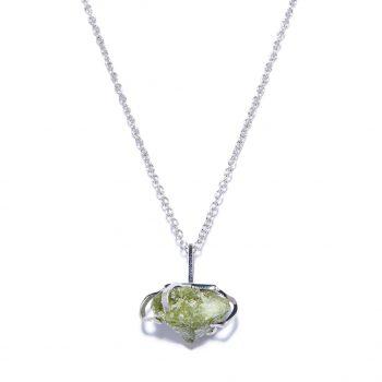 Big Stone White Rhodium Necklace in Green Garnet