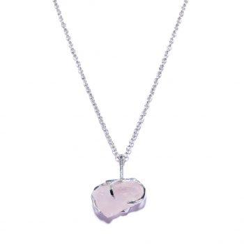 Big Stone White Rhodium Necklace in Rose Quartz