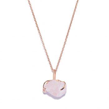 Big Stone Rose Gold Necklace in Rose Quartz
