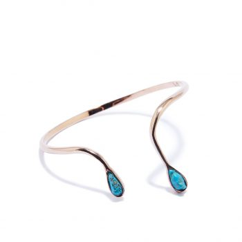 Double Raindrop Rose Gold Cuff in Turquoise