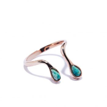 Double Raindrop Rose Gold Ring in Malachite