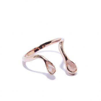 Double Raindrop Rose Gold Ring in Rose Quartz