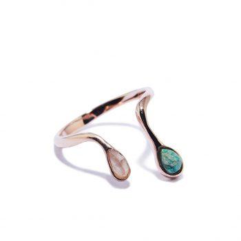 Double Raindrop Rose Gold Ring in Malachite and Rose Quartz