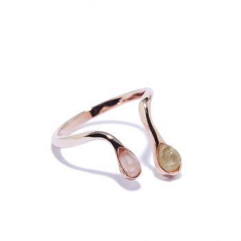 Double Raindrop Rose Gold Ring in Rose Quartz and Green Garnet