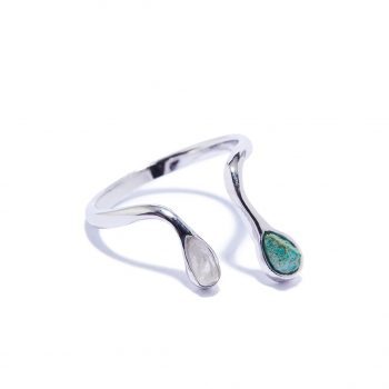 Double Raindrop White Rhodium Ring in Malachite and Rock Crystal