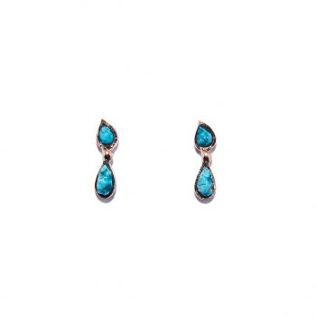 Double Raindrop Rose Gold Earrings in Turquoise