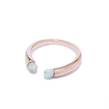 Rainy Rose Gold Ring in Malachite
