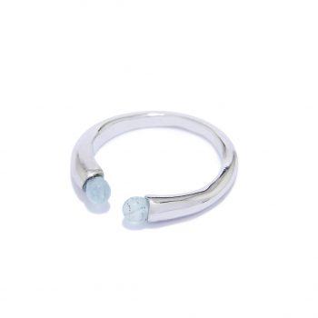 Rainy White Rhodium Ring in Aquamarine