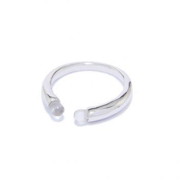Rainy White Rhodium Ring in Rock Crystal
