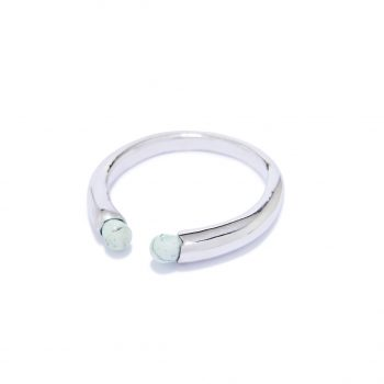 Rainy White Rhodium Ring in Malachite