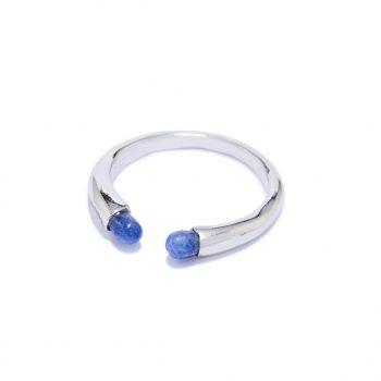 Rainy White Rhodium Ring in Blue Sapphire