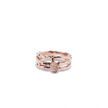 Triple Raindrop Rose Gold Ring in Herkimer Diamond