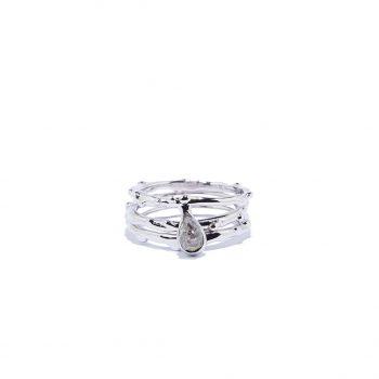 Triple Raindrop White Rhodium Ring in Herkimeri Diamond