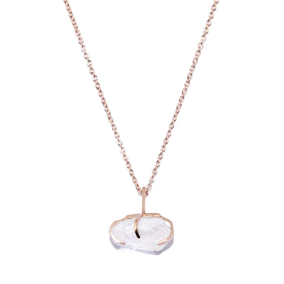 Big Stone Rose Gold Necklace in Rock Crystal