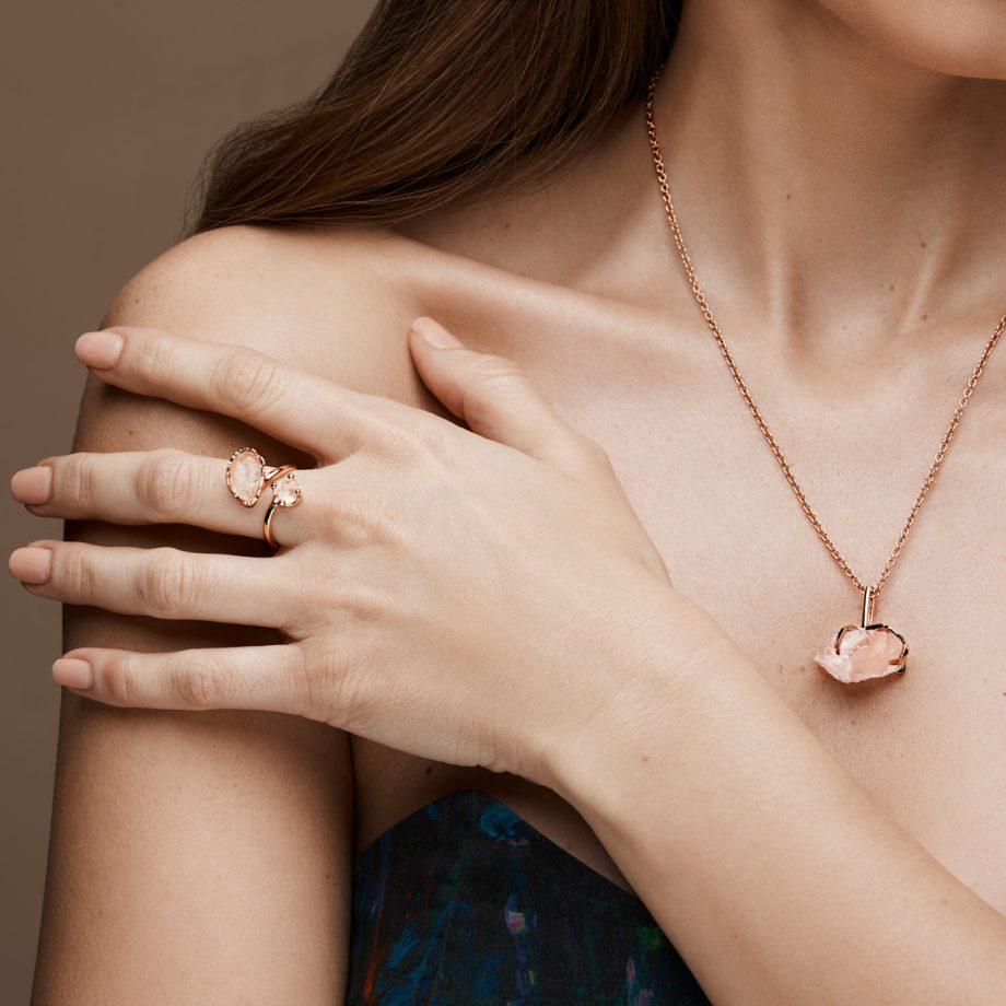 Rose Gold Ring, Necklace in Rose Quartz
