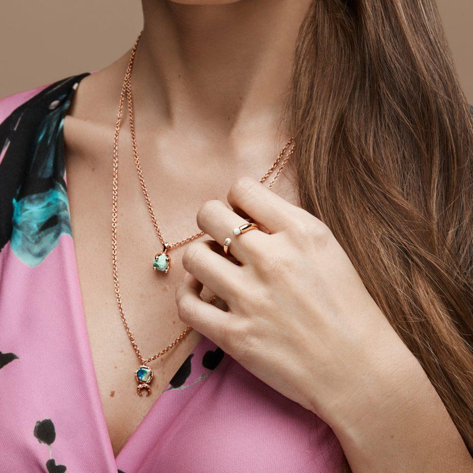 Ring, Necklace, Malachite