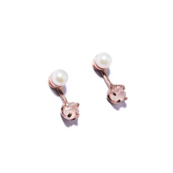 Pearl and Stone Rose Gold Earrings in Rose Quartz