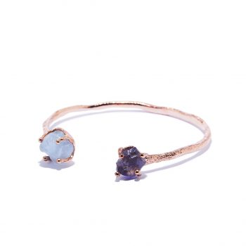 Cuff, Rose Gold, Aquamarine, Iolite