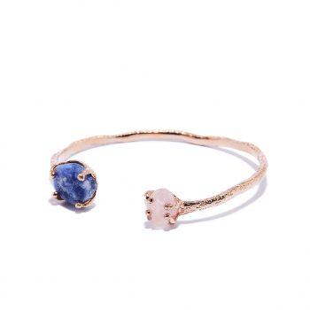 Cuff, rose gold, blue saphhire, rose quartz