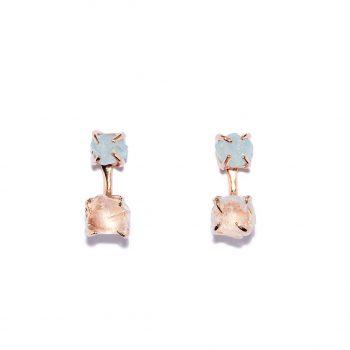 Double Stone, kõrvarõngad, roosa kuld, akvamariin, mäekristall