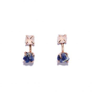 Earrings, rose gold, rose quartz, blue sapphire