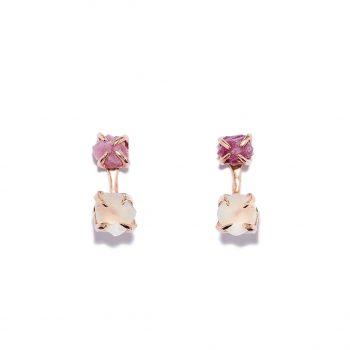 Earrings, Rose Gold, Ruby, White Topaz