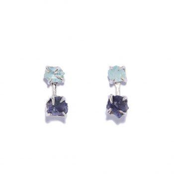 Earrings, white rhodium, iolite, aquamarine