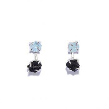 Earrings, White Rhodium, Aquamarine, Black Onyx