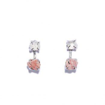 Earrings, White Rhodium, Rock Crystal, Rodocrosite