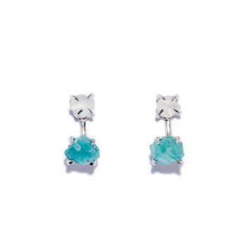 Earrings, White Rhodium, Rock Crystal, Blue Apatite