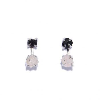 Double Stone, earrings, white rhodium, black onyx, rose quartz
