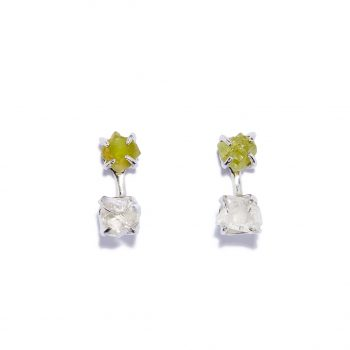 Double Stone, Earrings, White Rhodium, Green Garnet, Rock Crystal