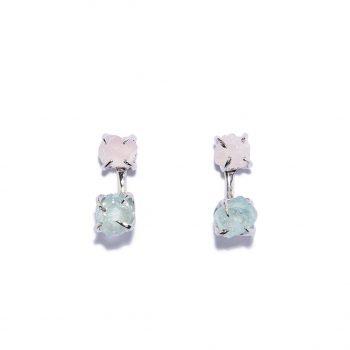 Double Stone Earrings, White Rhodium , Rose Quartz, Aquamarine