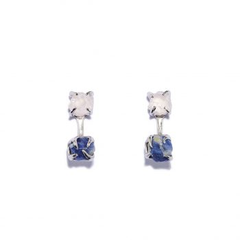 Double Stone, earrings, White Rhodium, Blue Sapphire, Rose Quartz