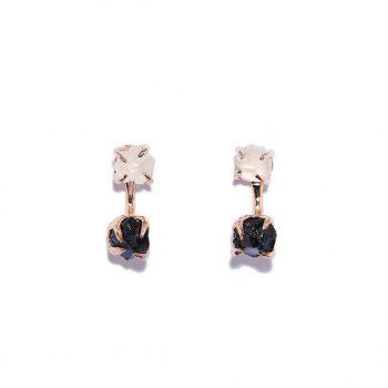 Double Stone, kõrvarõngad, roosa kuld, mäekristall, must oonüks