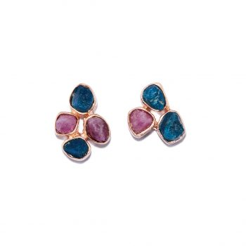 Flower, Rose Gold , Earrings, Blue Apatite, Ruby