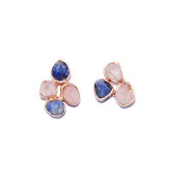 Rose Gold Earrings, Rose Quartz, Blue Sapphire