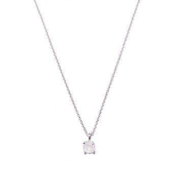Silver Necklace, White Rhodium Necklace, Rock Crystal, White Quartz, Handmade jewelry