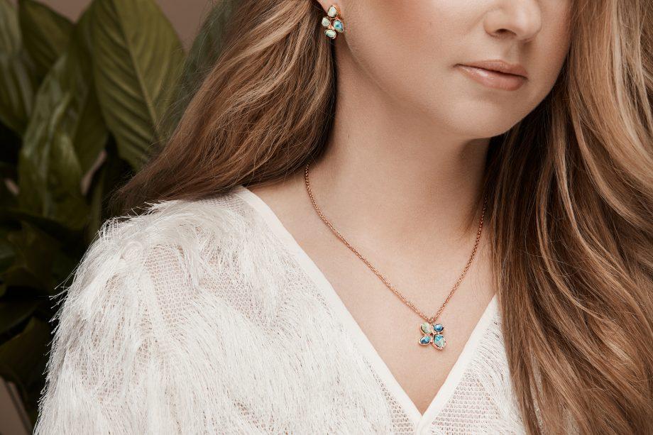 rose gold, necklace, malachite
